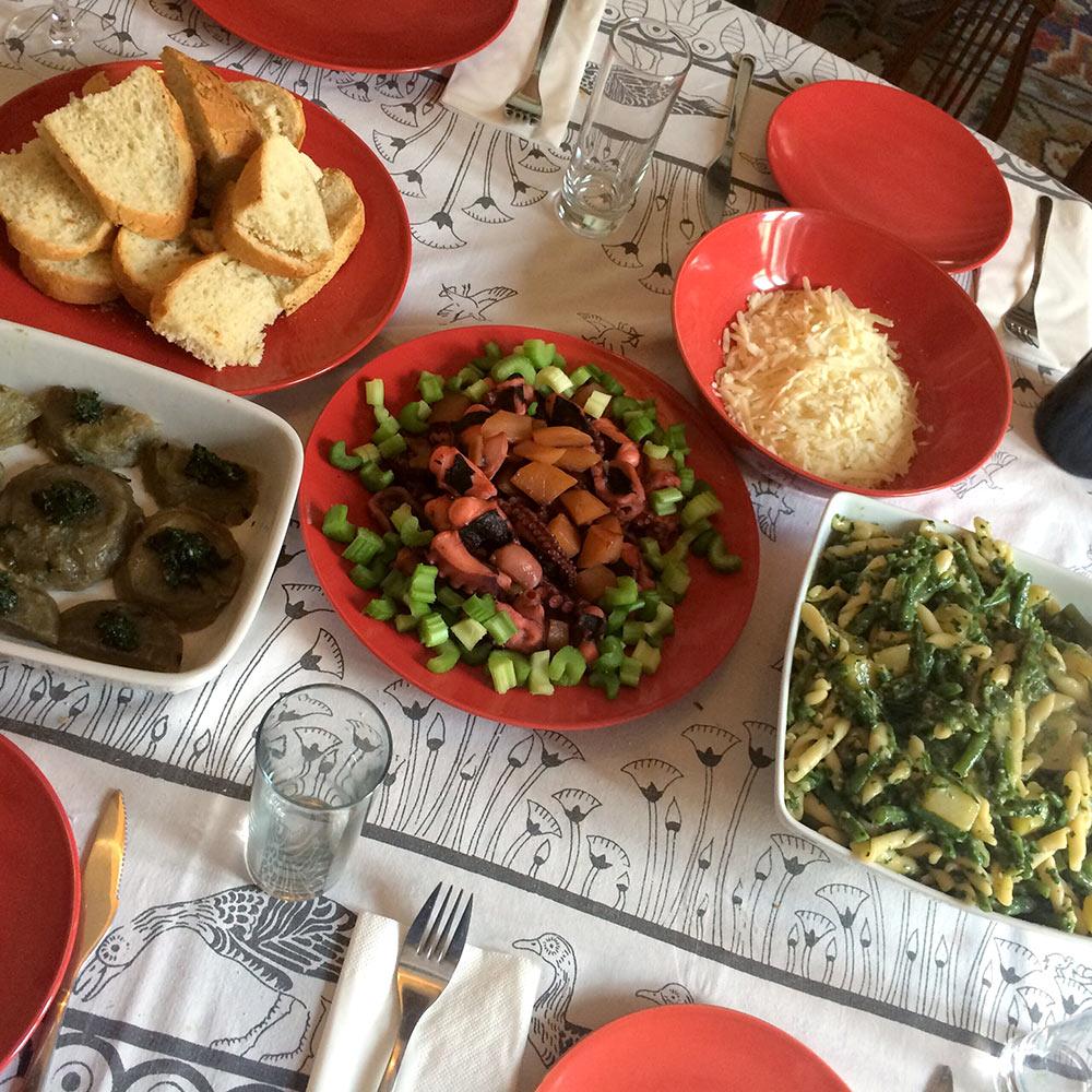 Venice dinner: octopus, pasta, braised artichokes, and tiramisu